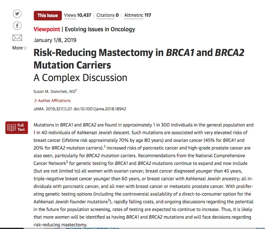 Risk Reducing Mastectomy in BRCA1 and BRCA2 mutation carriers